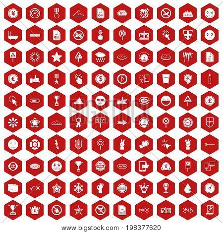 100 symbol icons set in red hexagon isolated vector illustration
