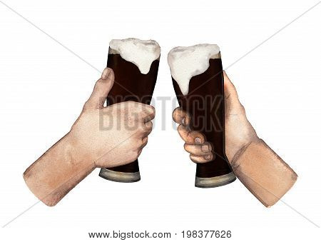 Two watercolor hands holding high glasses of dark beer. Hand painted illustration isolated on white background