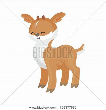 The image of cute little fawn in cartoon style. Vector children's illustration.