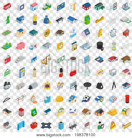 100 metropolis icons set in isometric 3d style for any design vector illustration