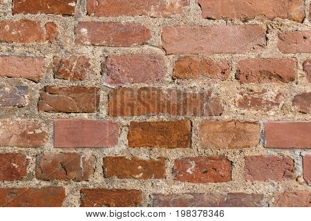 old wall of brick red terracotta color texture