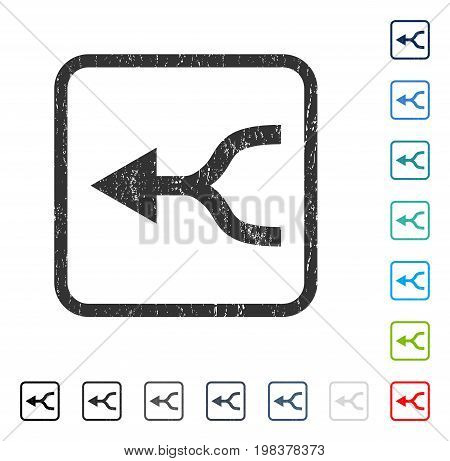 Combine Arrow Left rubber watermark in some color versions.. Vector pictogram symbol inside rounded rectangular frame with grunge design and dirty texture. Stamp seal illustration, unclean emblem.
