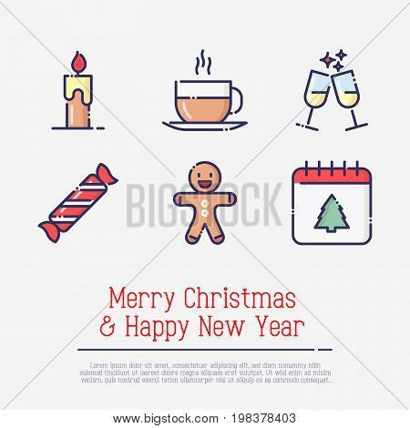 Christmas and New Year thin line symbols: candle, hot drink, glasses of champagne, candy, gingerbread, calendar for web page, banner, invitation, greeting card, print media. Vector illustration.