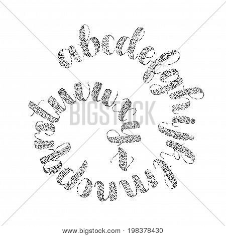 Hand drawn alphabet made with ink dots. Isolated on background vector illustration. Cursive script modern and beautiful. Black on white background.