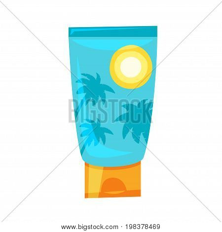 Vector cartoon style illustration of sunblock tube. Isolated on white background.