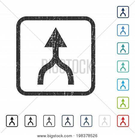 Combine Arrow Up rubber watermark in some color versions.. Vector pictogram symbol inside rounded rectangular frame with grunge design and scratched texture. Stamp seal illustration, unclean sign.