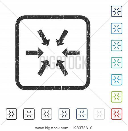 Compact Arrows rubber watermark in some color versions.. Vector pictogram symbol inside rounded rectangle with grunge design and dirty texture. Stamp seal illustration, unclean sticker.