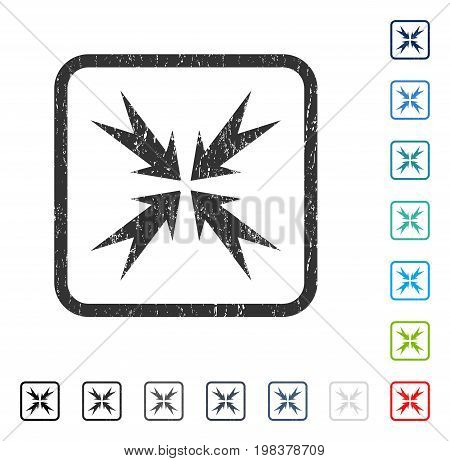 Compression Arrows rubber watermark in some color versions.. Vector pictogram symbol inside rounded rectangle with grunge design and dust texture. Stamp seal illustration, unclean sticker.