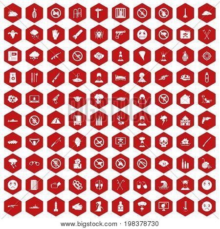 100 tension icons set in red hexagon isolated vector illustration