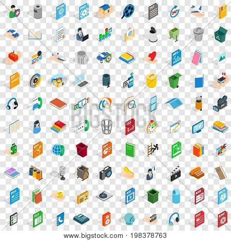 100 multimedia icons set in isometric 3d style for any design vector illustration