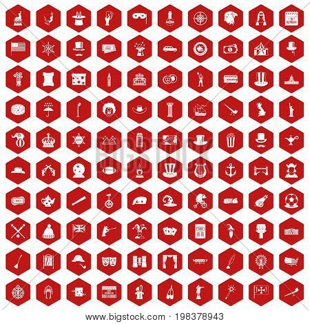 100 top hat icons set in red hexagon isolated vector illustration