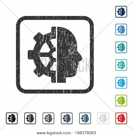 Cyborg Gear rubber watermark in some color versions.. Vector icon symbol inside rounded rectangle with grunge design and scratched texture. Stamp seal illustration, unclean emblem.
