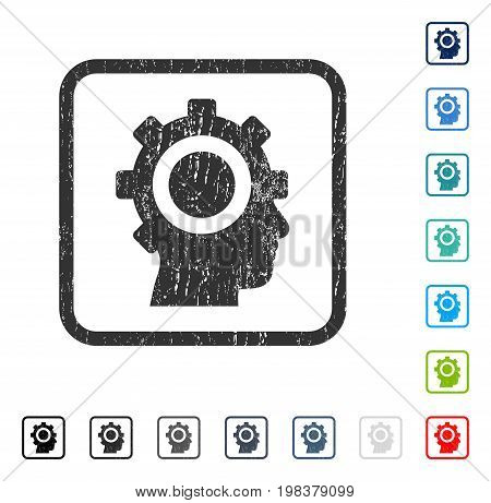 Cyborg Gear rubber watermark in some color versions.. Vector pictogram symbol inside rounded rectangle with grunge design and unclean texture. Stamp seal illustration, unclean sign.
