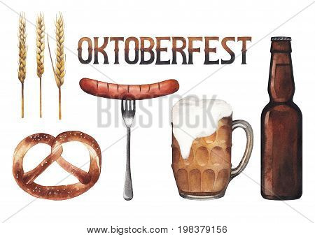 Watercolor pint of beer, bottle, sausage, pretzel and hops. Hand painted oktoberfest design elements isolated on white background