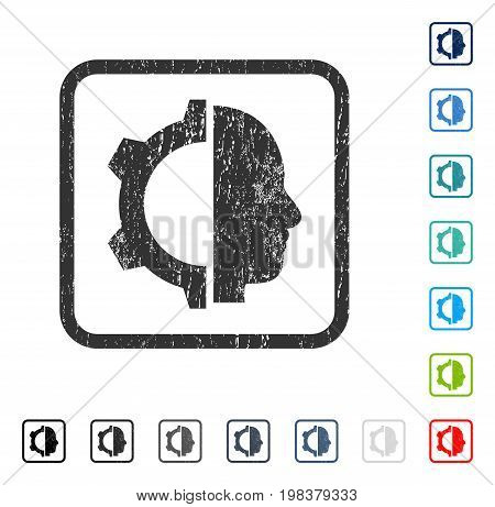 Cyborg Gear rubber watermark in some color versions.. Vector pictogram symbol inside rounded rectangular frame with grunge design and dust texture. Stamp seal illustration, unclean sign.