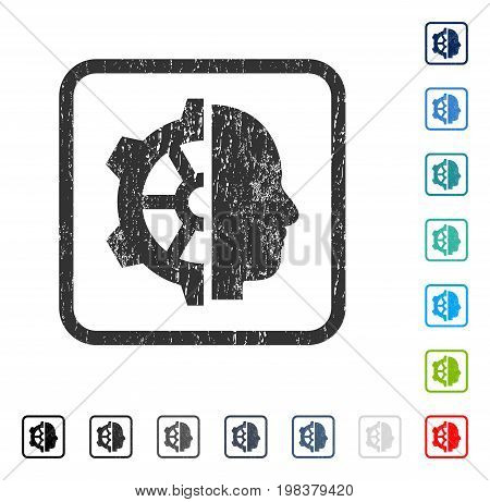Cyborg Gear rubber watermark in some color versions.. Vector pictogram symbol inside rounded rectangle with grunge design and dirty texture. Stamp seal illustration, unclean sign.
