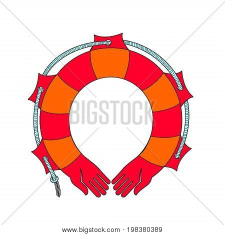 Red life buoy. Vector. Rescue on the water. The human hand in the form of a rescue. Metaphor for protection peace and prosperity. Can be used as the logo of the insurance company.