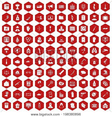 100 violation icons set in red hexagon isolated vector illustration