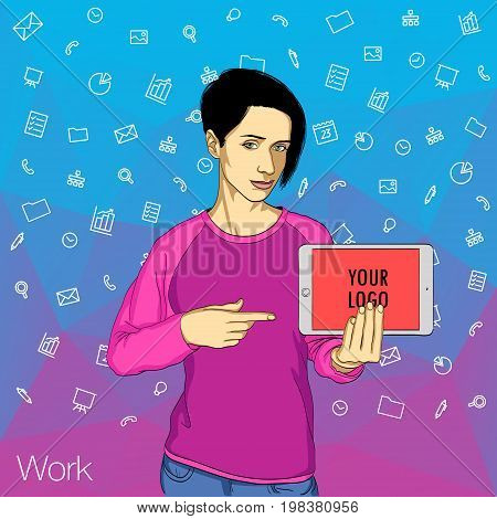 Business woman shows the screen of tablet with icons on abstract background. Vector, illustration, flat