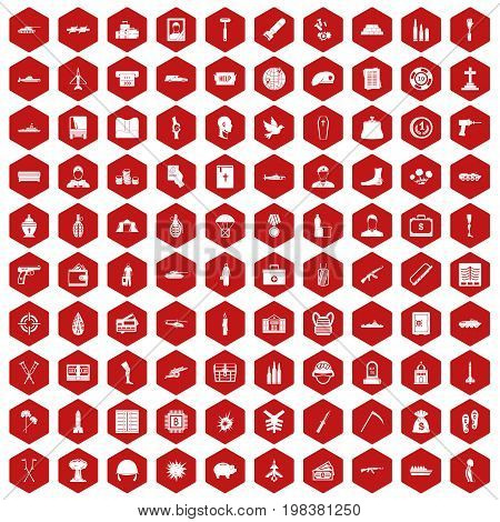 100 war crimes icons set in red hexagon isolated vector illustration