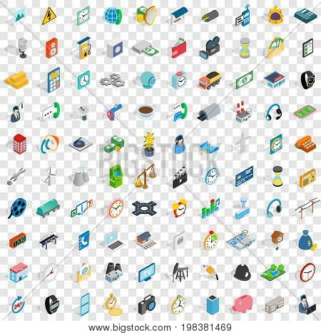 100 phone icons set in isometric 3d style for any design vector illustration