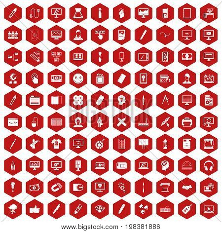 100 webdesign icons set in red hexagon isolated vector illustration