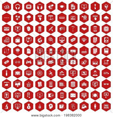 100 website icons set in red hexagon isolated vector illustration