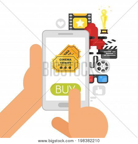 Vector flat style illustration of phone with movie icons. Concept for online buying of cinema tickets.