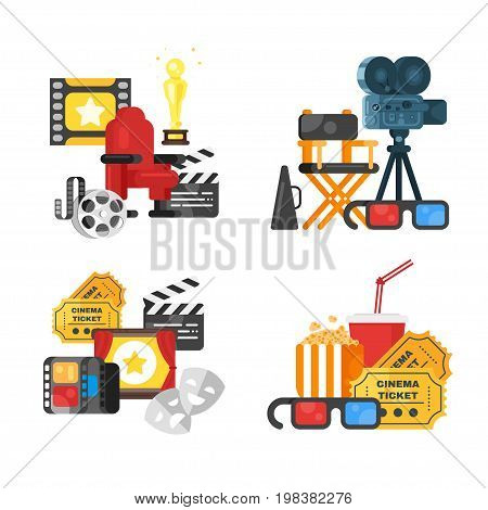 Vector flat style movie design set of concept with cinema icons. Icon for web. Isolated on white background.