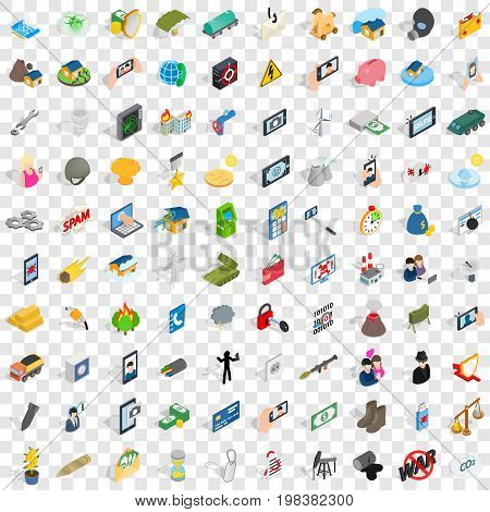 100 progress icons set in isometric 3d style for any design vector illustration