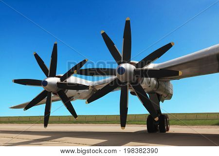 The Russian military jet strategic bomber Tupolev Tu-95. Turboprop engines.
