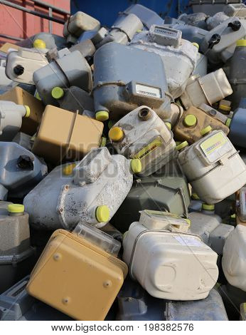 Discharged Gas Mter Counters Into A Dump Of Polluting Material