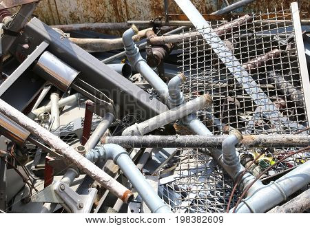 Material And Old Iron Pipes In The Landfill Of Recyclable Materi