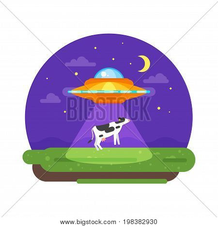 Vector flat style illustration of alien ship truing to abduct a cow at night. Isolated on white background.