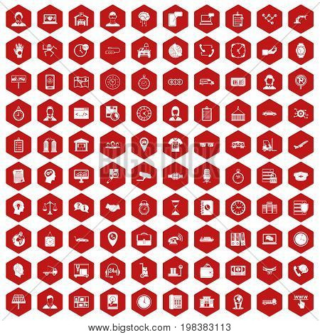 100 working hours icons set in red hexagon isolated vector illustration
