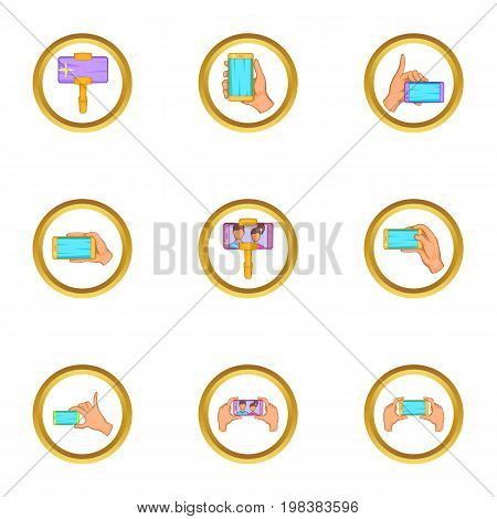 Cooperative selfie icons set. Cartoon set of 9 cooperative selfie vector icons for web isolated on white background