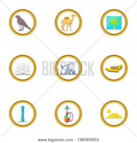 UAE sights icons set. Cartoon set of 9 UAE sights vector icons for web isolated on white background