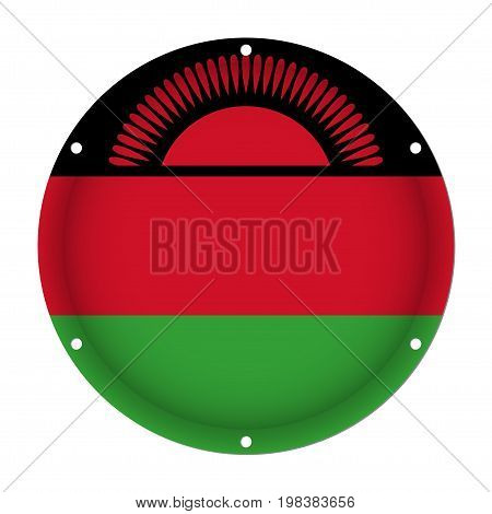 round metallic flag of Malawi with six screw holes in front of a white background