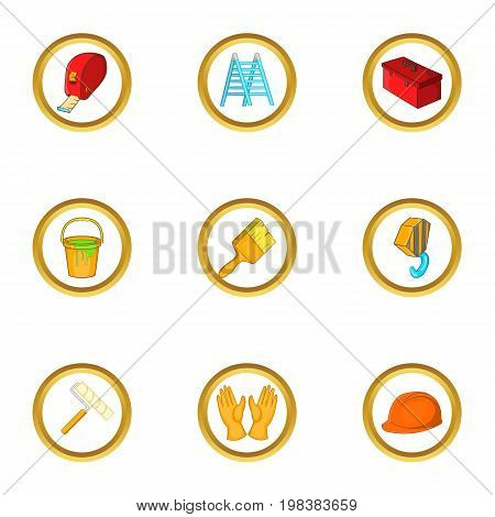 Construction icons set. Cartoon set of 9 construction vector icons for web isolated on white background
