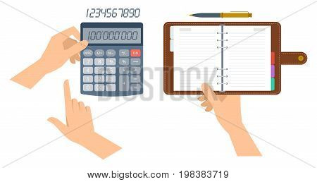 An accountant holds office calculator and counts business income. Hand holds paper organiser. Flat vector illustration of schedule planner with leather cover and electronic math school calculator.