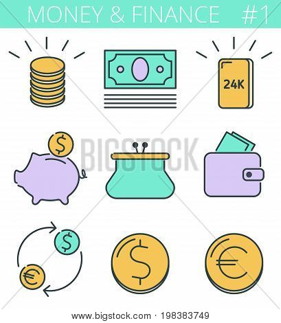 Money, business, finance outline icons: coins stack, gold bullion, piggy bank, wallet. Vector thin line symbol and sign set. Isolated colorful infographic elements for web, presentations, networks.