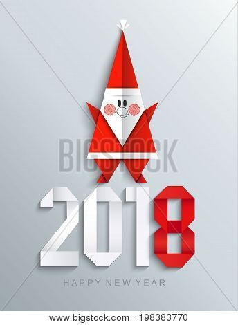 New 2018 year paper greeting card made in origami style with paper Santa, vector illustration.