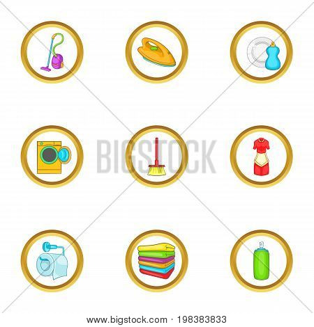 Cleanup things icons set. Cartoon set of 9 cleanup things vector icons for web isolated on white background