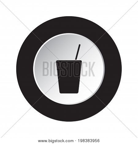 round isolated black and white button - black glass with straw icon
