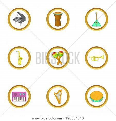 Musical orchestra icons set. Cartoon set of 9 musical orchestra vector icons for web isolated on white background