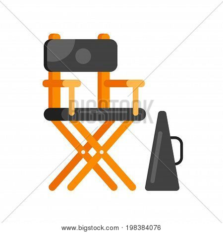 Vector flat style movie directors chair. Icon for web. Isolated on white background.