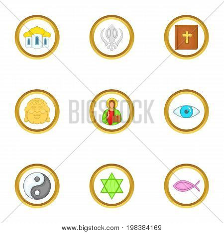 World religion icons set. Cartoon set of 9 world religion vector icons for web isolated on white background