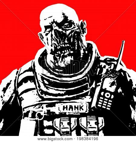 fat zombie soldier in black white colors on red background. vector illustration. scary horror character face.