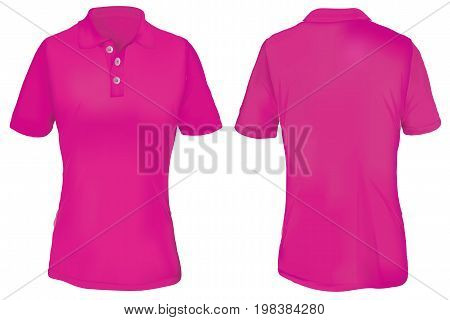 Pink Polo Shirt Template for Woman  Isolated on White