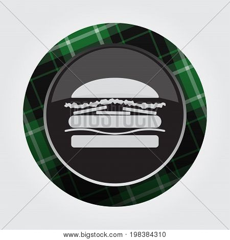 black isolated button with green black and white tartan pattern on the border - light gray hamburger icon in front of a gray background